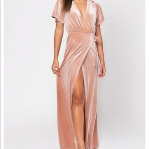 Pink velvet maxi dress- open neck- size sm